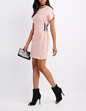 Lace-Up Sides T-Shirt Dress