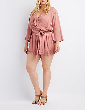 Plus Size Surplice Ruffle-Trim Romper