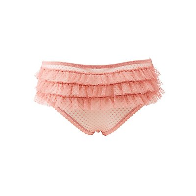 Plus Size Swiss Dot Ruffle-Trim Hipster Panties