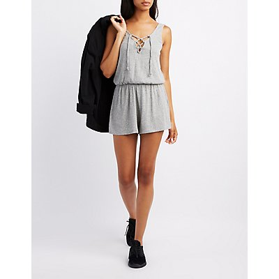 Ribbed Lace-Up Romper