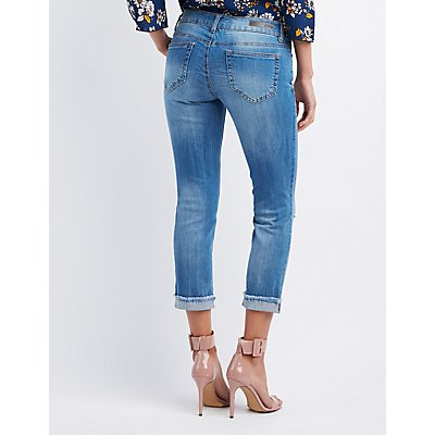 Destroyed Crop Boyfriend Jeans