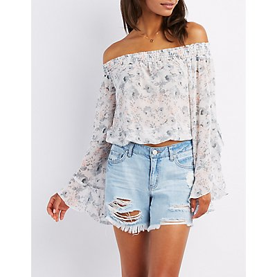 Floral Off-The-Shoulder Cascade Sleeve Top