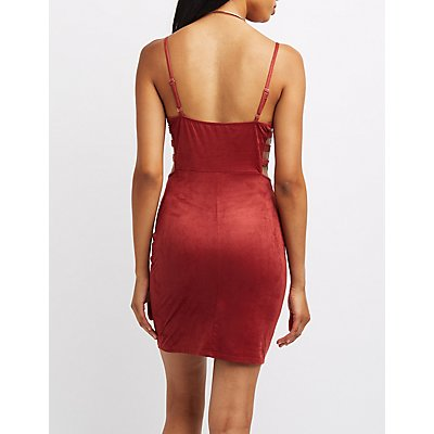 Faux Suede Caged Bodycon Dress