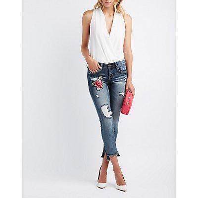 Floral Embroidered Step Hem Destroyed Skinny Jeans