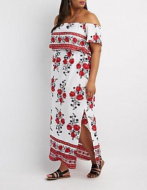 Plus Size Border Print Off-The-Shoulder Maxi Dress