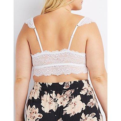 Plus Size Caged Floral Lace Bralette