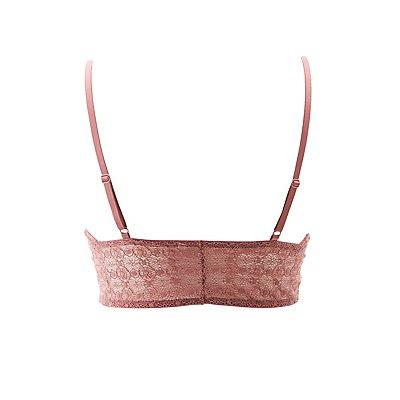 Plus Size Lace Lattice-Front Bralette