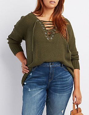 Plus Size Shaker Stitch Lace-Up Sweater