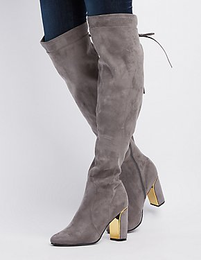 Gold-Trim Over-The-Knee Boots