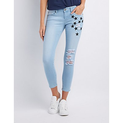 Star Embroidered Destroyed Skinny Jeans