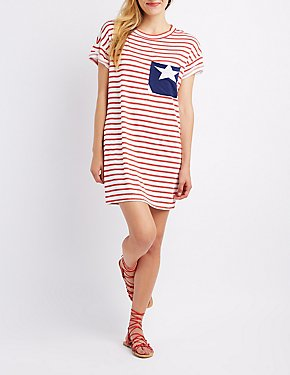 Striped Pocket T-Shirt Dress