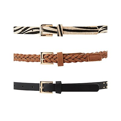 Braided, Studded, and Faux Ponyhair Belts - 3 Pack