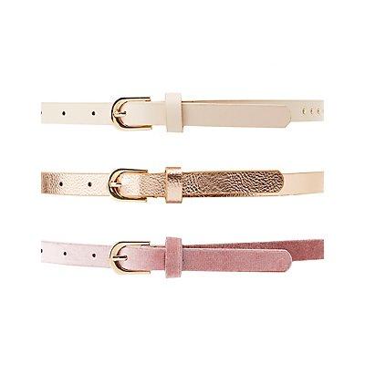 Metallic, Studded & Velvet Belts - 3 Pack
