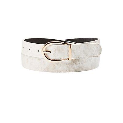 Reversible Velvet & Faux Leather Belt