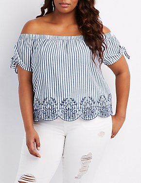 Plus Size Striped Tied Off-The-Shoulder Top