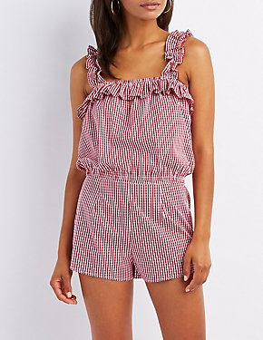 Gingham Ruffle-Trim Tank Top