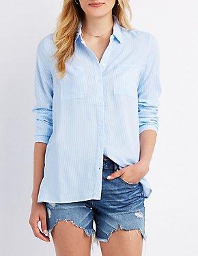 Striped Collard Pocket Button-Up Shirt