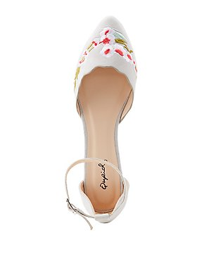Qupid Embroidered Ankle Strap D'Orsay Flats