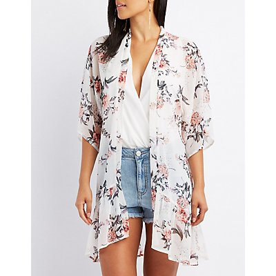 Floral Ruffle-Trim Kimono