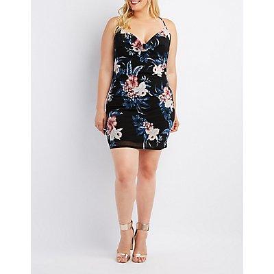 Plus Size Floral Mesh Cowl Neck Dress