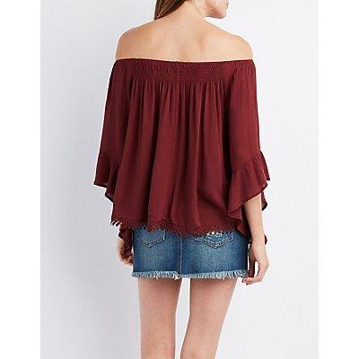 Crochet-Trim Bell Sleeve Off-The-Shoulder Top