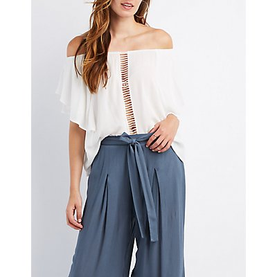 Crochet-Trim Ruffle Off-The-Shoulder Top