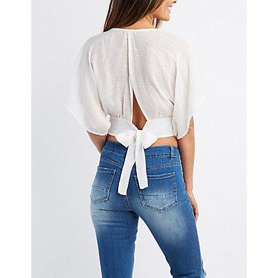 Embroidered Tie-Back Crop Top