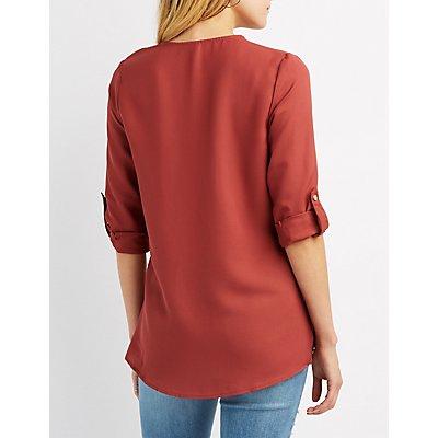 Lace-Up Pocket Shirt
