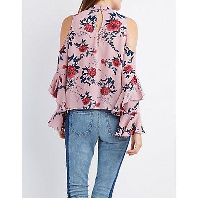 Floral Bell Sleeve Cold Shoulder Top