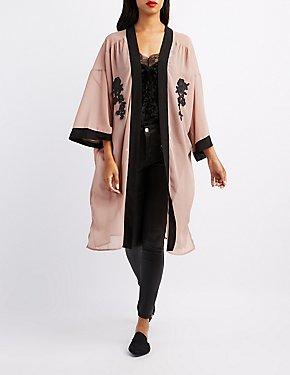 Embroidered Open-Front Kimono