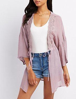 Crochet-Trim Tie Front Kimono