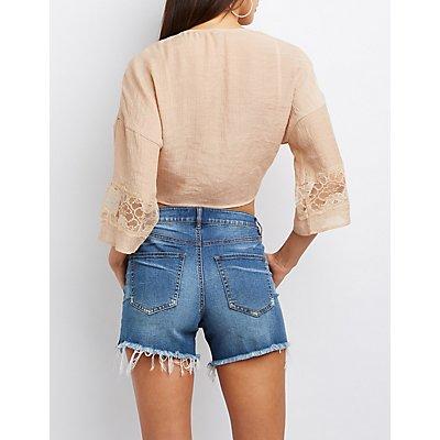 Lace-Inset Tie-Front Crop Top