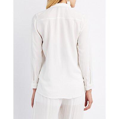 Collared Pocket Button-Up Shirt
