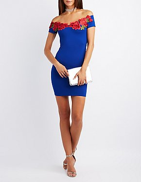 Floral Embroidered Off-The-Shoulder Bodycon Dress