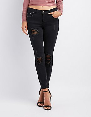 Refuge Destroyed Fishnet Inset Skinny Jeans