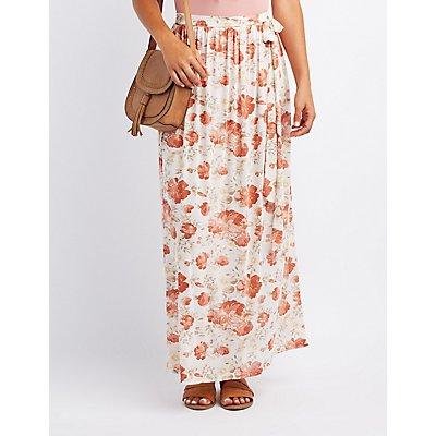 Floral Mesh Maxi Skirt