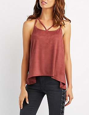 Strappy Caged Faux Suede Tank Top