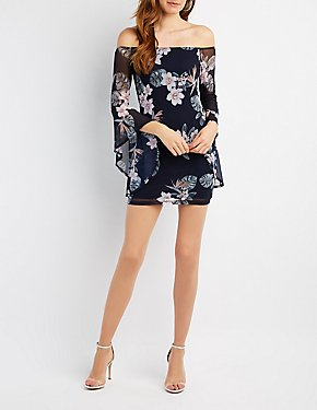 Floral Mesh Off-The-Shoulder Dress