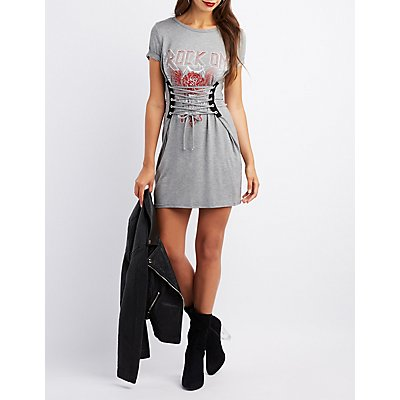 Corset-Detail Rock On Graphic Shirtdress