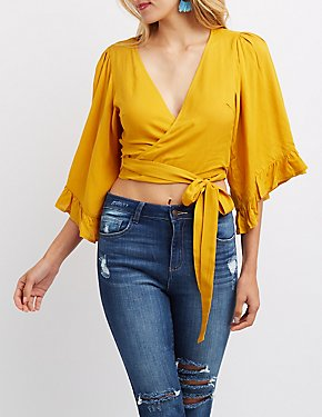 Ruffle-Trim Wrap Crop Top