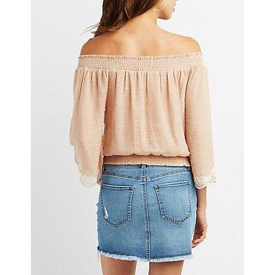 Embroidered-Trim Keyhole Off-The-Shoulder Top