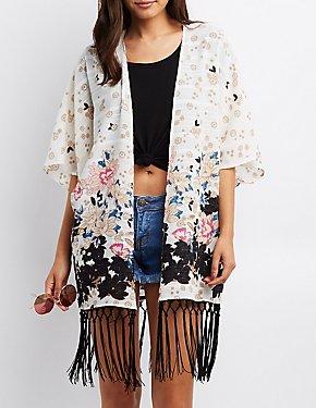 Textured Floral Fringe-Hem Kimono