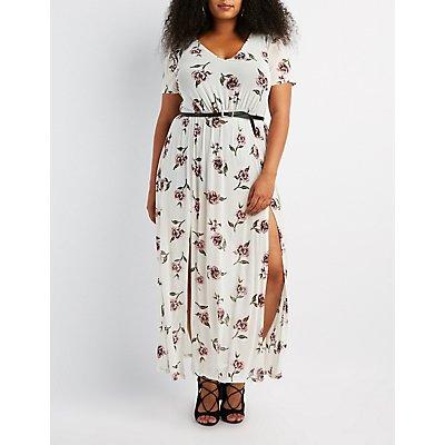 Plus Size Floral Mesh V-Neck Maxi Dress