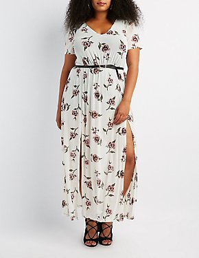 Plus Size Floral Mesh V-Neck Maxi Dress