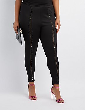 Plus Size Hook-And-Eye Leggings
