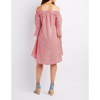 Gingham Off-The-Shoulder High-Low Dress