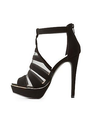 Caged Mesh-Inset Peep Toe Booties