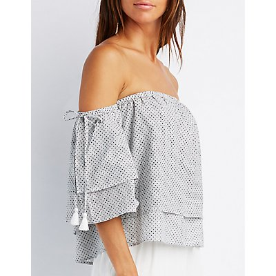 Polka Dot & Striped Tiered Off-The-Shoulder Top