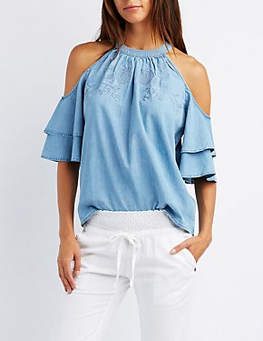 Embroidered Chambray Cold Shoulder Top