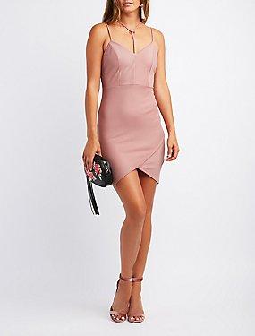 Strappy O-Ring Envelope Bodycon Dress